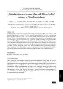 Glycoalkaloid content in potato tubers with different levels of ...