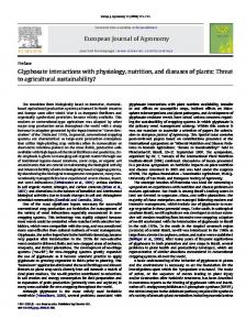 Glyphosate interactions with physiology, nutrition, and diseases of plants