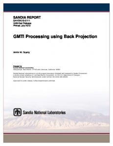 GMTI Processing using Back Projection - Sandia National Laboratories