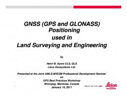 GNSS (GPS and GLONASS) Positioning used in Land Surveying ...