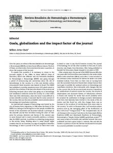 Goals, globalization and the impact factor of the journal - SciELO