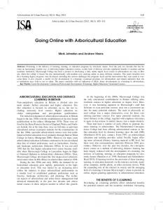 Going Online with Arboricultural Education - Arboriculture & Urban ...