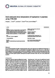 Gold-catalyzed direct alkynylation of tryptophan in ... - Beilstein Journals