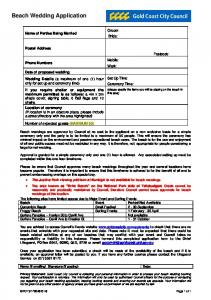 Gold Coast CIty Council Beach Wedding Application