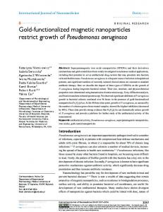Gold-functionalized magnetic nanoparticles restrict ... - Semantic Scholar