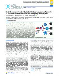 Gold Nanocluster-Grafted Cyclodextrin ... - ACS Publications