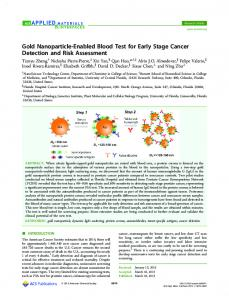 Gold Nanoparticle-Enabled Blood Test for Early ... - ACS Publications
