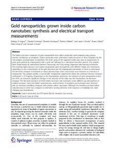 Gold nanoparticles grown inside carbon nanotubes: synthesis and
