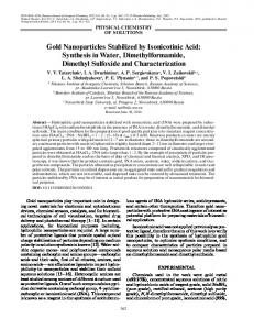 Gold Nanoparticles Stabilized by Isonicotinic Acid - Springer Link