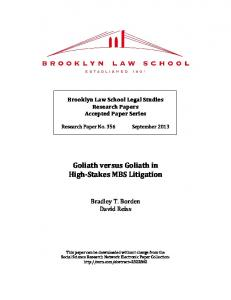 Goliath versus Goliath in High-Stakes MBS Litigation - SSRN papers