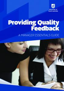Good Practice Guide to Providing Quality Feedback.