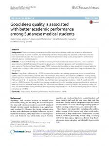 Good sleep quality is associated with better academic performance ...