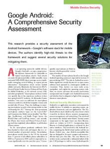 Google Android: A Comprehensive Security Assessment - IEEE Xplore