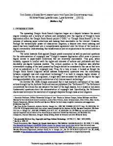 Google Book Settlement (October 2010) - SSRN papers