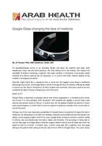 Google Glass changing the face of medicine