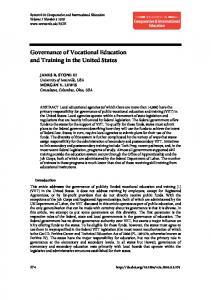 Governance of Vocational Education and Training in the United States ...