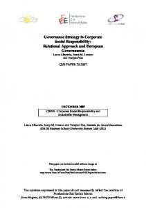 Governance Strategy in Corporate Social Responsibility: Relational ...