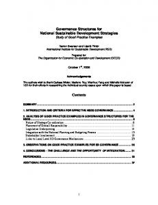Governance Structures for National Sustainable Development ...