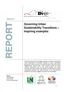 Governing Urban Sustainability Transitions - Dutch Research Institute ...
