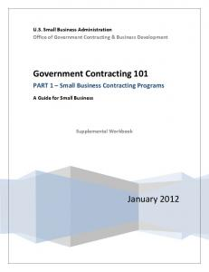 Government Contracting 101 - Workbook - Small Business ...