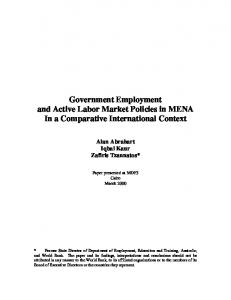 Government Employment and Active Labor Market ... - CiteSeerX