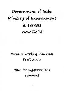 Government of India Ministry of Environment & Forests New Delhi