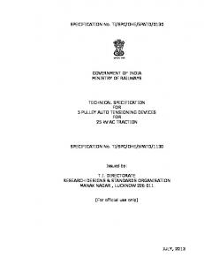 GOVERNMENT OF INDIA - rdso