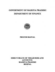 GOVERNMENT OF MADHYA PRADESH DEPARTMENT OF FINANCE