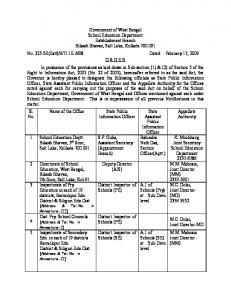 Government of West Bengal School Education Department ...