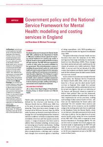Government policy and the National Service Framework for Mental ...
