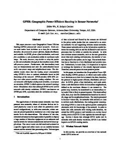 GPER: Geographic Power Efficient Routing in Sensor ... - public.asu.edu