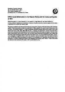 GPS Crustal deformation in the Eastern Betics and the Lorca ...