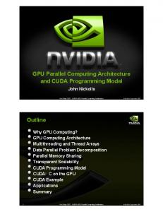 GPU Parallel Computing Architecture and CUDA Programming ...