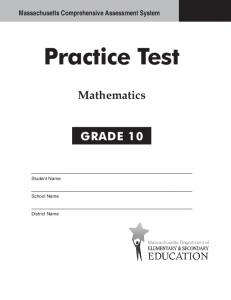 Grade 10 Mathematics Practice Test 2013