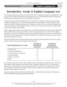 Grade 11 ELA Released Test Questions