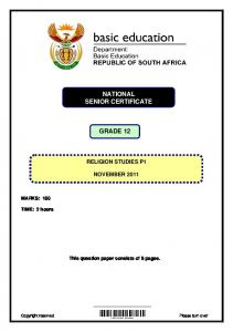GRADE 12 NATIONAL SENIOR CERTIFICATE GRADE 12