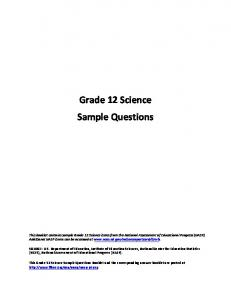 Grade 12 Science Sample Questions