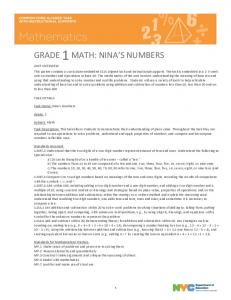 GRADE 1MATH: NINA'S NUMBERS - New York City Department of ...