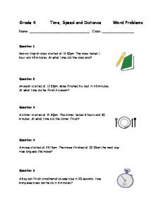 Ratio and proportion word problems five worksheet pack math grade 4 math worksheet with problems involving speed and distance ibookread Read Online