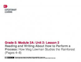 Grade 5: Module 2A: Unit 2: Lesson 2 Reading and Writing About ...