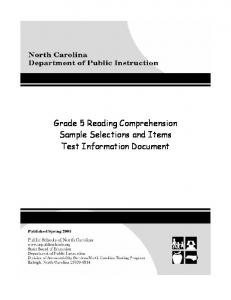 Grade 5 Reading Comprehension Sample Selections and Items Test