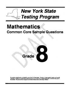 Grade 8 Mathematics Common Core Sample Questions