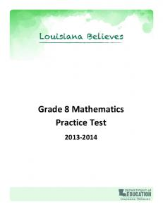 Grade 8 Mathematics Practice Test - Louisiana Department of ...