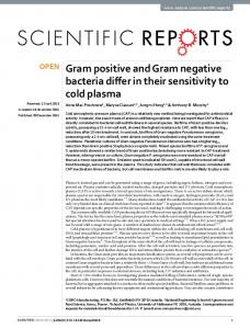Gram positive and Gram negative bacteria differ in ...