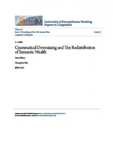 Grammatical Downsizing and The Redistribution ... - ScholarlyCommons