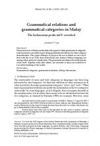 Grammatical relations and grammatical categories in Malay