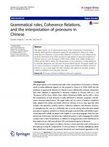 Grammatical roles, Coherence Relations, and the