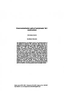Grammaticalization paths of periphrastic 'do'- constructions - CiteSeerX