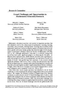 Grand Challenges and Opportunities in Mathematics Education ...