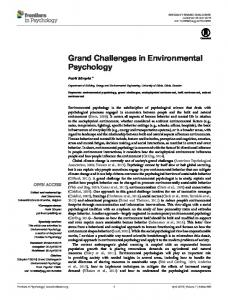Grand Challenges in Environmental Psychology